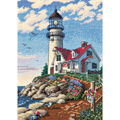 """5""""X7"""" 18 Count - Gold Petites Beacon At Rocky Point Counted Cross Stitch Kit"""