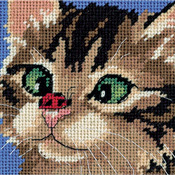 "5""X5"" Stitched In Yarn & Thread - Cross-Eyed Kitty Mini Needlepoint Kit"