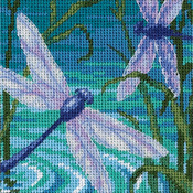 "5""X5"" Stitched In Thread & Ribbon - Dragonfly Pair Mini Needlepoint Kit"
