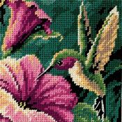 """5""""X5"""" Stitched In Thread - Hummingbird Drama Mini Needlepoint Kit"""