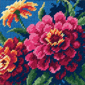"5""X5"" Stitched In Thread - Zinnias Mini Needlepoint Kit"