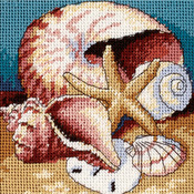 "5""X5"" Stitched In Floss - Shell Collage Mini Needlepoint Kit"