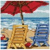 5 X5  Stitched In Thread - Beach Chair Duo Mini Needlepoint Kit DIMENSIONS-Needlepoint Kit: Mini.  Dimensions brings to you beautifully designed images in a vast variety of themes from baby to weddings, sympathy to inspirational and fun and quirky to seriously sentimental.  This kit contains full color printed 14 mesh canvas, cotton embroidery thread, needle and easy to follow instructions. Mat and frame are not included.  Finished size: 5x5in.  Design: Beach Chair Duo.  Designer: Scott Westmoreland.  Imported.