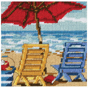 """5""""X5"""" Stitched In Thread - Beach Chair Duo Mini Needlepoint Kit"""