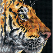 "5""X5"" Stitched In Thread - Tiger Profile Mini Needlepoint Kit"