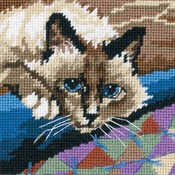 "5""X5"" Stitched In Floss - Cuddly Cat Mini Needlepoint Kit"