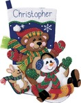 "18"" Long - Toboggan Trio Stocking Felt Applique Kit"