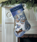 Sleigh Ride At Dusk Stocking - Gold Collection Counted Cross
