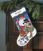 "16"" Long 14 Count - Santa & Snowman Stocking Counted Cross Stitch Kit"