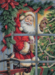 Candy Cane Santa - Gold Collection Counted Cross Stitch Kit