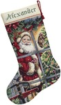 Candy Cane Santa Stocking - Gold Collection Counted Cross Stitch Kit