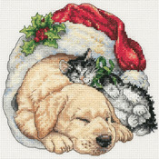 Christmas Morning Pets - Gold Petites Counted Cross Stitch Kit