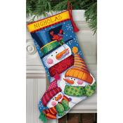 "16"" Long Stitched In Wool & Thread - Freezin' Season Stocking Needlepoint Kit"
