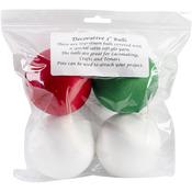 """2 White, 1 Red & 1 Green - Satin Balls 3"""" 4/Pkg"""