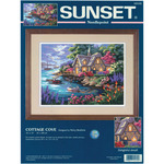 """16""""x12"""" Stitched In Floss - Cottage Cove Needlepoint Kit"""