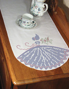 "Cross Stitch Lady - Stamped Perle Edge Dresser Scarf 15""X42"""