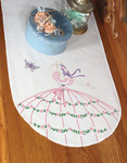 """Butterfly Lady - Stamped Perle Edge Dresser Scarf 15""""X42"""""""