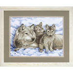 """16""""X12"""" - Mother Wolf And Pups Stamped Cross Stitch Kit"""