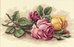 "14""X9"" 14 Count - Rose Cuttings Counted Cross Stitch Kit"