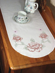 "Rose - Stamped Perle Edge Dresser Scarf 15""X42"""