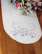 "Wedding Bells - Stamped Perle Edge Dresser Scarf 15""X42"""