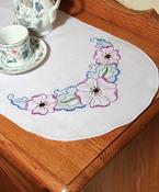 "Floral - Stamped Perle Edge Dresser Scarf 15""X42"""