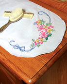 "Ribbon & Flowers - Stamped Perle Edge Dresser Scarf 15""X42"""