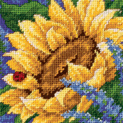 "5""X5"" Stitched In Thread - Jiffy Sunflower And Ladybug Mini Needlepoint Kit"