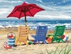 16 X12  Stitched In Wool & Thread - Beach Chair Trio Needlepoint Kit The Beach Chair Trio kit uses half cross stitch for effect.  Kit includes: wool and acrylic yarns, cotton thread, 12 mesh canvas printed in full color, needle and easy instructions. Canvas measures: 20x16 Finish in a frame or pillow.  Pillow finishing products not included.
