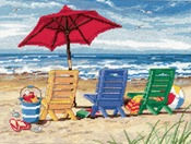 """16""""X12"""" Stitched In Wool & Thread - Beach Chair Trio Needlepoint Kit"""