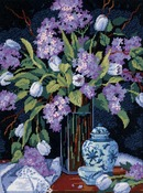 """12""""X16"""" Stitched In Floss - Tulips & Lilacs Needlepoint Kit"""