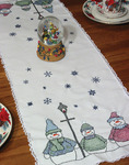 "Snowman - Stamped Lace Edge Table Runner 15""X42"""