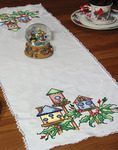 """Birdhouse - Stamped Lace Edge Table Runner 15""""X42"""""""