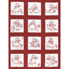 "Sunbonnet Girls - Stamped White Nursery Quilt Blocks 9""X9"" 12/Pkg"