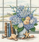 Hydrangeas And Shells Counted Cross Stitch Kit