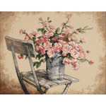 """14""""X11"""" 14 Count - Roses On White Chair Counted Cross Stitch Kit"""