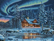 """16""""X12"""" 16 Count - Gold Collection Aurora Cabin Counted Cross Stitch Kit"""