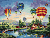 """16""""X12"""" 18 Count - Gold Collection Balloon Glow Counted Cross Stitch Kit"""
