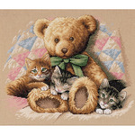 """14""""X12"""" 14 Count - Teddy & Kittens Counted Cross Stitch Kit"""