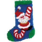"Candy Cane Santa Stocking - Latch Hook Kit 12""X17"""
