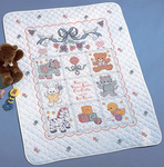 """34""""X43"""" - Babies Are Precious Crib Cover Stamped Cross Stitch Kit"""