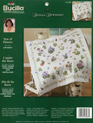"""45""""X45"""" - Donna Dewberry Year Of Flowers Lap Quilt Stamped Cross Stitc"""