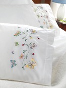 "Butterflies In Flight - Stamped Embroidery Pillowcase Pair 20""X30"""