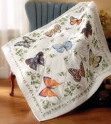 "Butterfly Collection - Stamped Cross Stitch Lap Quilt 45""X45"""