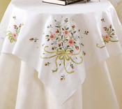 "Bridal Bouquet - Stamped Cross Stitch Table Topper 40""X40"""