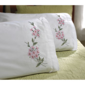 "Dogwood Branch - Stamped Embroidery Pillowcase Pair 20""X30"""