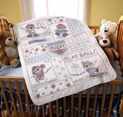 "34""X43"" - Baseball Buddies Crib Cover Stamped Cross Stitch Kit"