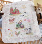 """34""""X43"""" - On The Farm Crib Cover Stamped Cross Stitch Kit"""
