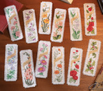 """Flowers Of The Month Bookmarks Counted Cross Stitch Kit-2.25""""X7.75"""" 14 Count Set"""