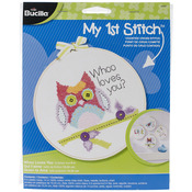 """6"""" Round 14 Count - My 1st Stitch Whoo Loves You Mini Counted Cross Stitch Kit"""